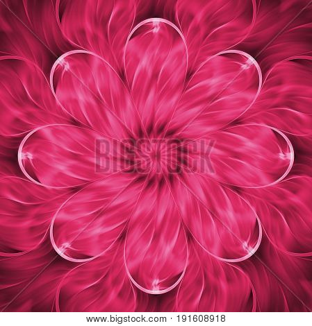 Abstract Exotic Flower. Psychedelic Mandala Design In Bright Crimson Colors. Fantasy Fractal Art. 3D