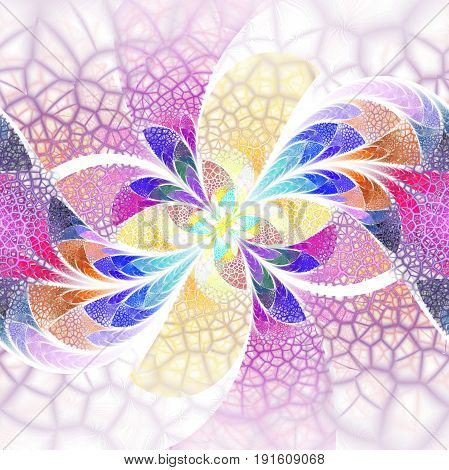 Exotic Flower With Textured Petals On White Background. Abstract Symmetrical Floral Design In Pink,