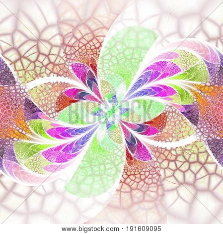 Exotic Flower With Textured Petals On White Background. Abstract Symmetrical Floral Design In Green,