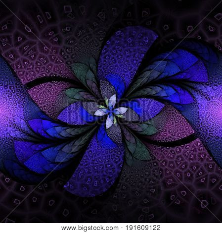 Exotic Flower With Textured Petals On Black Background. Abstract Symmetrical Floral Design In Blue,