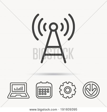 Telecommunication tower icon. Signal sign. Wireless wifi network symbol. Notebook, Calendar and Cogwheel signs. Download arrow web icon. Vector