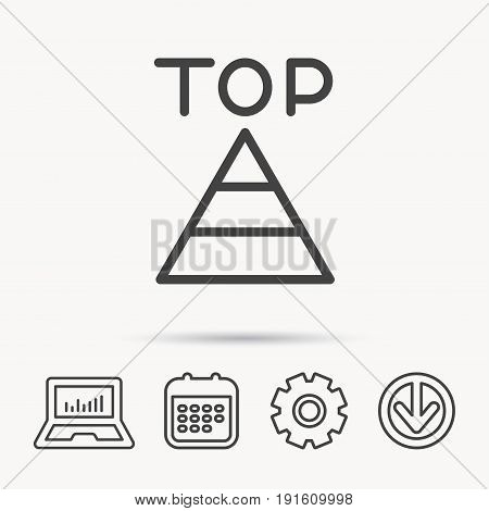 Triangle icon. Top or best result sign. Success symbol. Notebook, Calendar and Cogwheel signs. Download arrow web icon. Vector