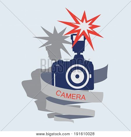Camera with flash and tape.  Emblem, label, icon. Vector image for photogate, makers, design themed website.
