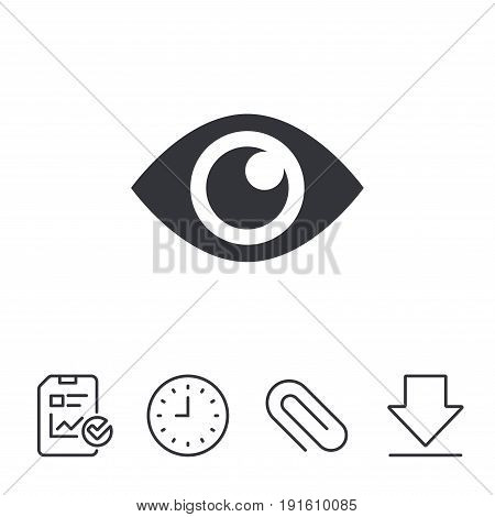 Eye sign icon. Publish content button. Visibility. Report, Time and Download line signs. Paper Clip linear icon. Vector