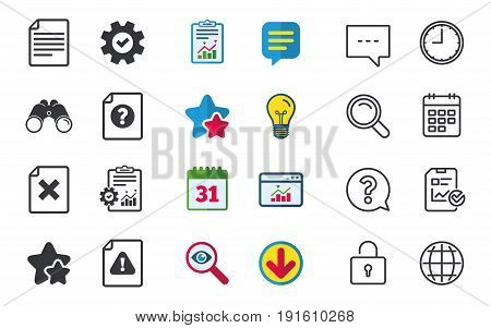 File attention icons. Document delete symbols. Question mark sign. Chat, Report and Calendar signs. Stars, Statistics and Download icons. Question, Clock and Globe. Vector