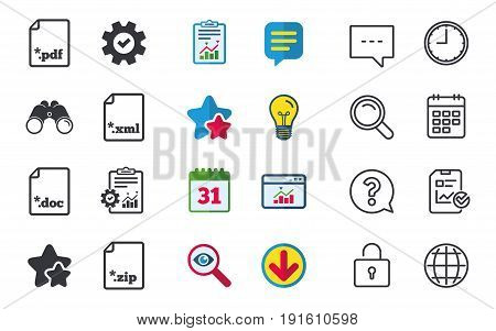 Download document icons. File extensions symbols. PDF, ZIP zipped, XML and DOC signs. Chat, Report and Calendar signs. Stars, Statistics and Download icons. Question, Clock and Globe. Vector
