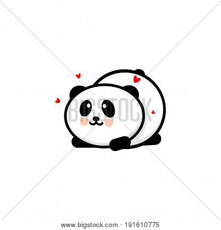 Cute Panda in love and played vector illustration, Baby Bear logo, new design line art, Chinese Teddy-bear Black color sign, simple image, picture with animal and hearts