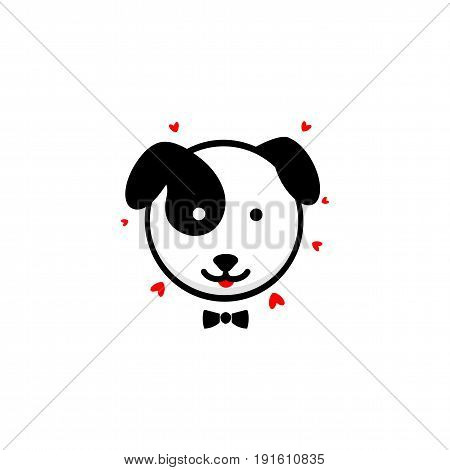 Cute Dog gentleman confesses his love vector illustration, Baby Puppy logo, new design art, Pet Black color sign, simple image, picture with animal and hearts