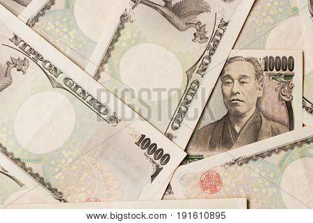 Group of Japanese bank note 10000 yen background