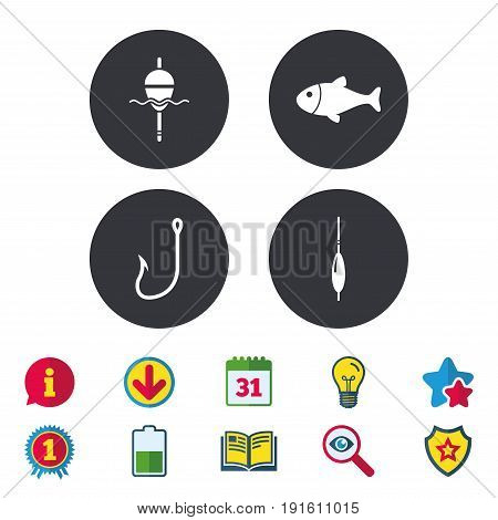 Fishing icons. Fish with fishermen hook sign. Float bobber symbol. Calendar, Information and Download signs. Stars, Award and Book icons. Light bulb, Shield and Search. Vector