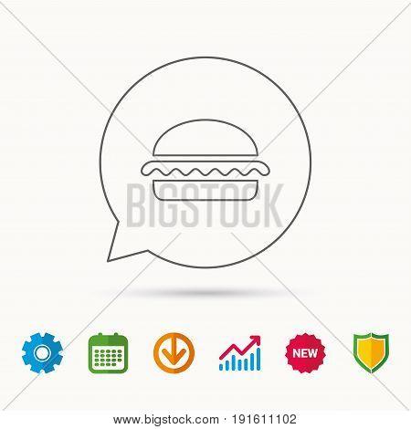 Vegetarian burger icon. Healthy fast food sign. Burger symbol. Calendar, Graph chart and Cogwheel signs. Download and Shield web icons. Vector