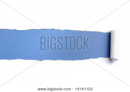Torn Paper with space for text against a blue background