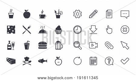Set of Food and Drinks icons. Restaurant meal, Wine and Cheese signs. Burger, Coffee and Beer symbols. Calendar, Document and Download line signs. Pencil, Service and Search icons. Vector