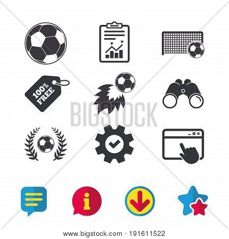 Football icons. Soccer ball sport sign. Goalkeeper gate symbol. Winner award laurel wreath. Goalscorer fireball. Browser window, Report and Service signs. Binoculars, Information and Download icons