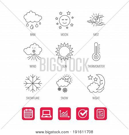 Weather, sun and rain icons. Moon night, clouds and mist linear signs. Wind and snowflakes flat line icons. Report document, Graph chart and Calendar signs. Laptop and Check web icons. Vector