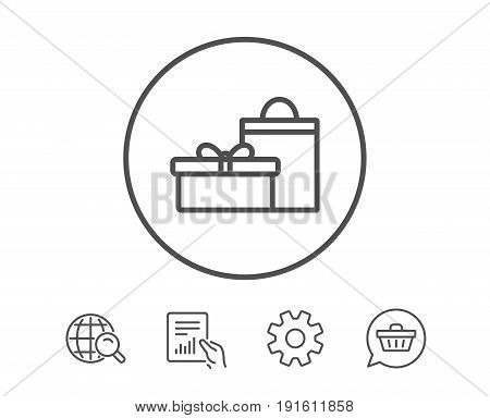 Gift box with bag line icon. Present or Sale sign. Birthday Shopping symbol. Package in Gift Wrap. Hold Report, Service and Global search line signs. Shopping cart icon. Editable stroke. Vector