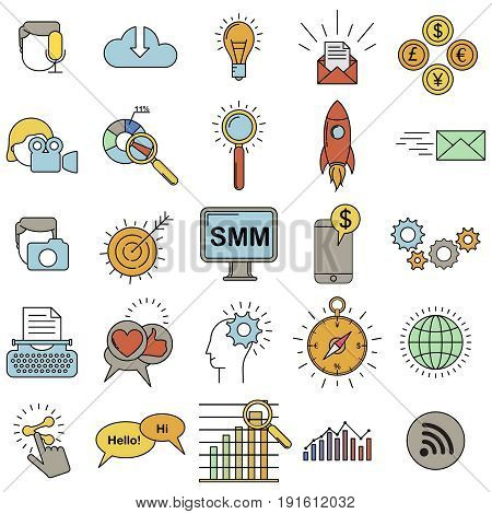 Social Media Marketing icons colored set. Collection of vector line icons for internet marketing. Movie and foto, writing and other content. Sales funnel.
