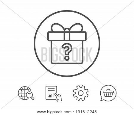 Gift box with Question mark line icon. Present or Sale sign. Birthday Shopping symbol. Package in Gift Wrap. Hold Report, Service and Global search line signs. Shopping cart icon. Editable stroke