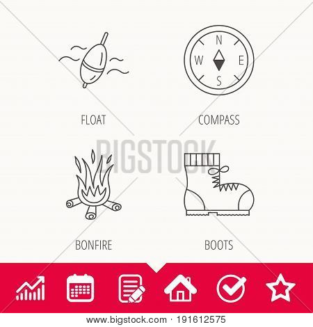 Bonfire, fishing float and hiking boots icons. Compass linear sign. Edit document, Calendar and Graph chart signs. Star, Check and House web icons. Vector