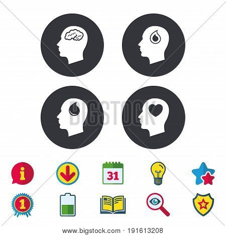 Head with brain icon. Male human think symbols. Blood drop donation sign. Love heart. Calendar, Information and Download signs. Stars, Award and Book icons. Light bulb, Shield and Search. Vector