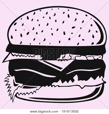 hamburger vector silhouette isolated on pink background