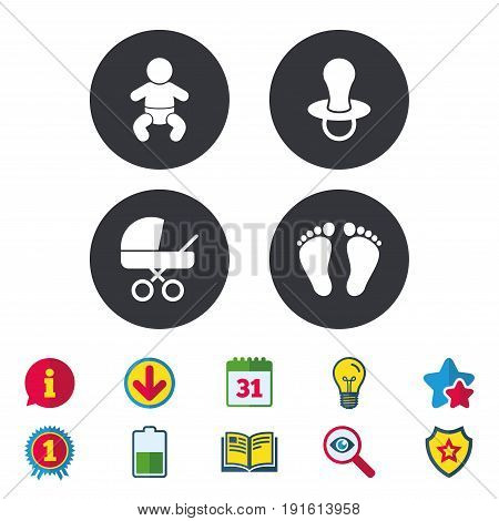 Baby infants icons. Toddler boy with diapers symbol. Buggy and dummy signs. Child pacifier and pram stroller. Child footprint step sign. Calendar, Information and Download signs. Vector