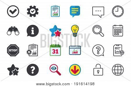 Information icons. Stop prohibition and question FAQ mark signs. Approved check mark symbol. Chat, Report and Calendar signs. Stars, Statistics and Download icons. Question, Clock and Globe. Vector
