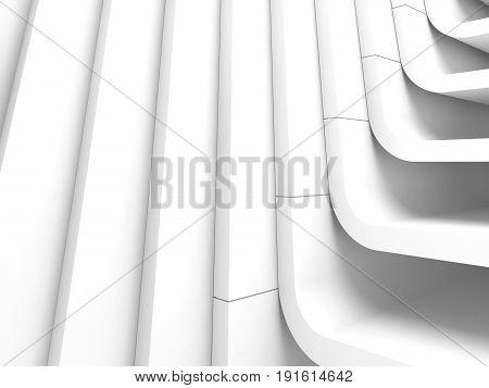 3D Render Illustration, White Interior