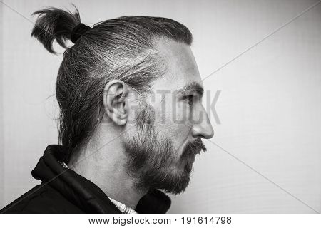 Profile Portrait Of Young Bearded Asian Man