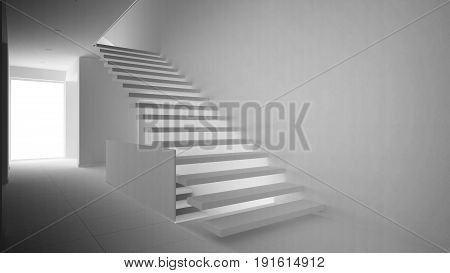Total white project of modern entrance hall with wooden staircase minimalist interior design, 3d illustration