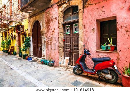 charming old colorful streets of Greece. Rethymno town, Crete