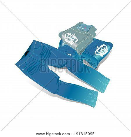 jeans pants folded illustration vector. Vector Illustration design