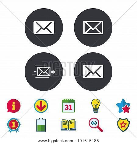Mail envelope icons. Message delivery symbol. Post office letter signs. Calendar, Information and Download signs. Stars, Award and Book icons. Light bulb, Shield and Search. Vector