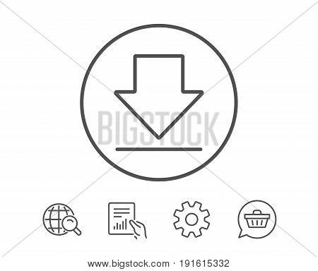 Download line icon. Internet Downloading sign. Load file symbol. Hold Report, Service and Global search line signs. Shopping cart icon. Editable stroke. Vector