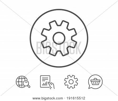 Cogwheel line icon. Service sign. Transmission Rotation Mechanism symbol. Hold Report, Service and Global search line signs. Shopping cart icon. Editable stroke. Vector