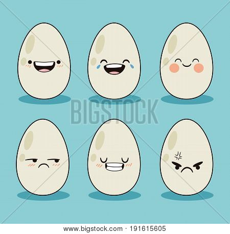 Set different kawaii egg cartoon. Eggs in different expressions. Cute design flat icon. Vector stock