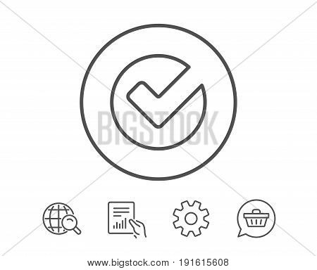 Check line icon. Approved Tick sign. Confirm, Done or Accept symbol. Hold Report, Service and Global search line signs. Shopping cart icon. Editable stroke. Vector