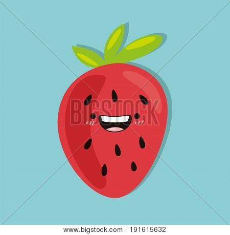 Strawberry kawaii cartoon cute design flat icon vector stock