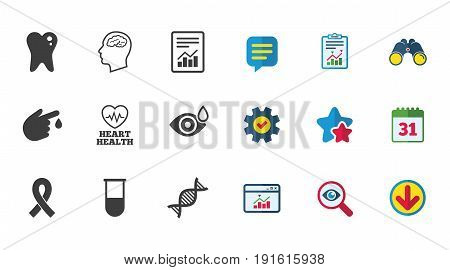 Medicine, medical health and diagnosis icons. Blood test, dna and neurology signs. Tooth, report symbols. Calendar, Report and Download signs. Stars, Service and Search icons. Vector