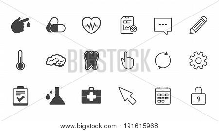 Medicine, healthcare and diagnosis icons. Tooth, pills and doctor case signs. Neurology, blood test symbols. Chat, Report and Calendar line signs. Service, Pencil and Locker icons. Vector