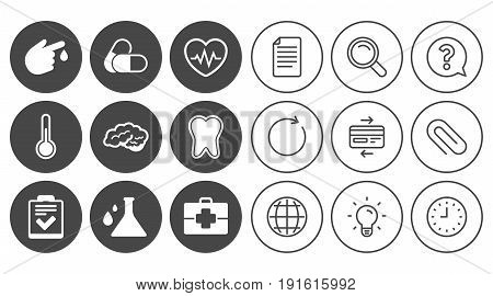 Medicine, healthcare and diagnosis icons. Tooth, pills and doctor case signs. Neurology, blood test symbols. Document, Globe and Clock line signs. Lamp, Magnifier and Paper clip icons. Vector