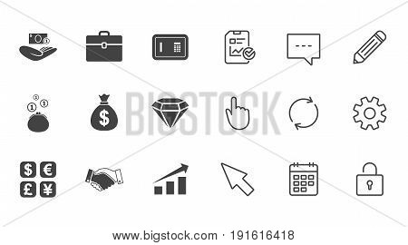Money, cash and finance icons. Handshake, safe and currency exchange signs. Chart, case and jewelry symbols. Chat, Report and Calendar line signs. Service, Pencil and Locker icons. Vector