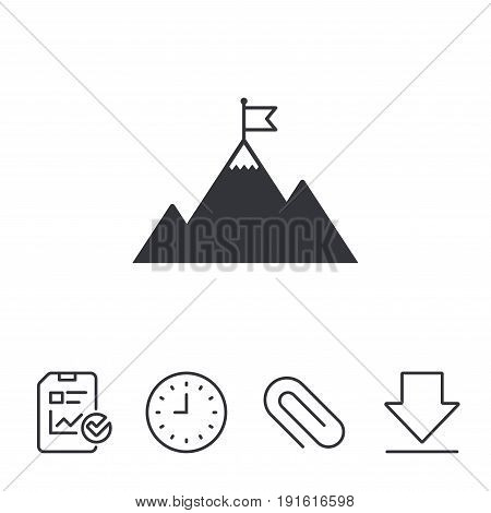 Flag on mountain icon. Leadership motivation sign. Mountaineering symbol. Report, Time and Download line signs. Paper Clip linear icon. Vector