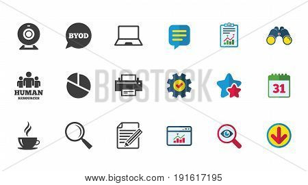 Office, documents and business icons. Pie chart, byod and printer signs. Report, magnifier and web camera symbols. Calendar, Report and Download signs. Stars, Service and Search icons. Vector