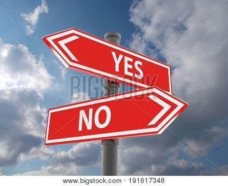 two road signs - yes or no choice . 3d rendered illustration