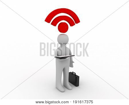 3d man - person working on tablet and rss symbol . 3d rendered illustration
