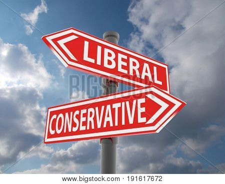 two road signs - liberal conservative choice . 3d rendered illustration