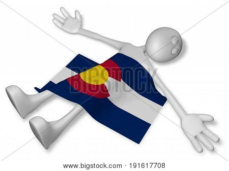 dead cartoon guy and flag of colorado - 3d illustration
