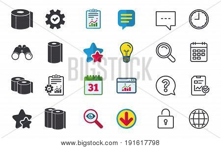 Toilet paper icons. Kitchen roll towel symbols. WC paper signs. Chat, Report and Calendar signs. Stars, Statistics and Download icons. Question, Clock and Globe. Vector
