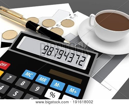3d calculator with the number on display . 3d rendered illustration
